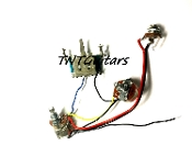 1V1T Prewired Harness, 2 Pickup PUSH PULL HH/HS, 3W Blade Switch
