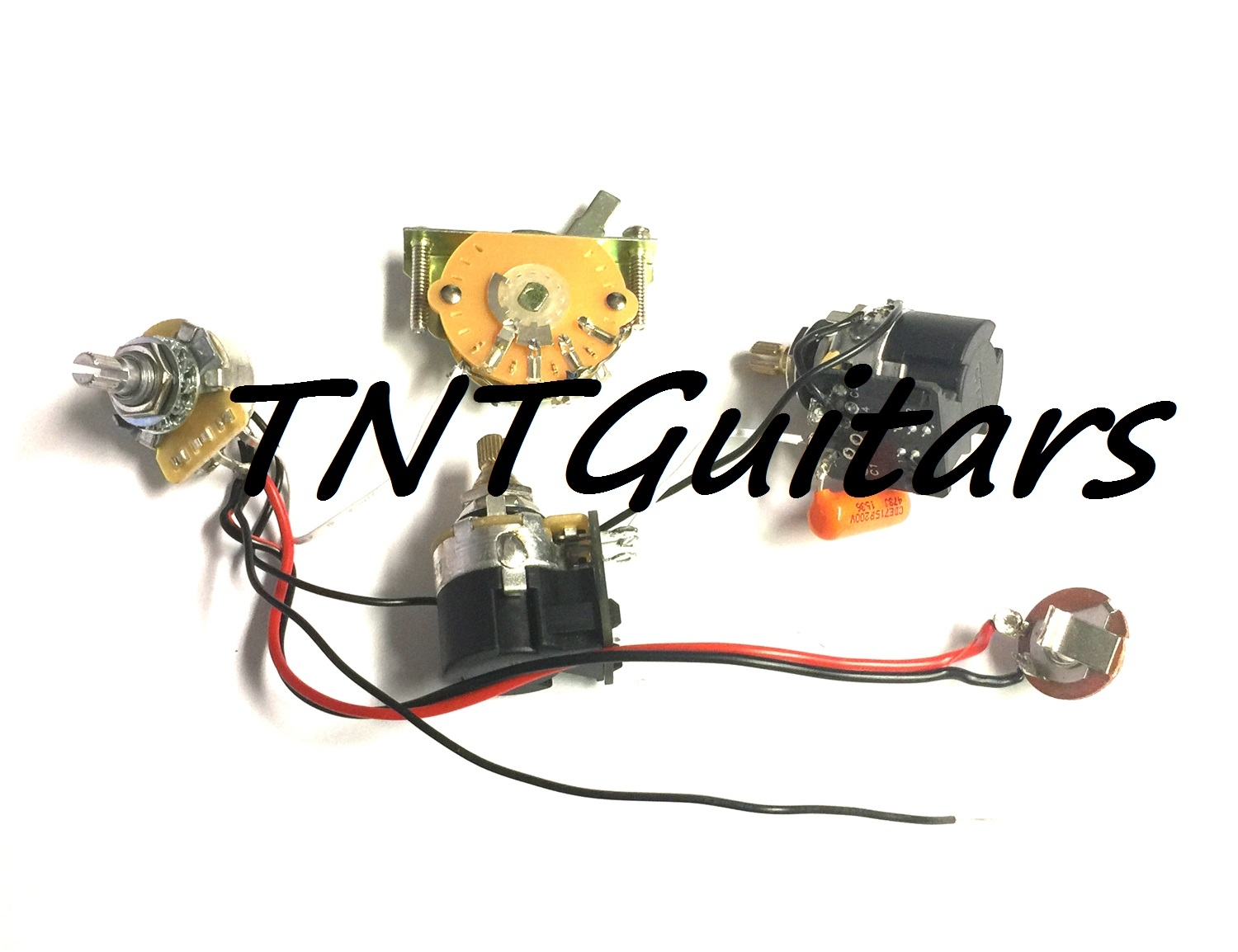 1v2t Prewired Harness 2 Pickup Cts Push Pull Dual Coil Cut Guitar Wiring Volume Tone 3way Switch Jack