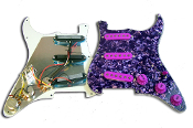 Prewired Strat Pickguard SSS, Purple Pearl
