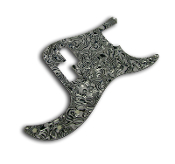 P Bass Pickguard, White-Black Abalone Swirl