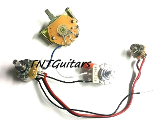 1v1t prewired harness, 2 pickup cts 3 way fcs blade switch  dragonfire guitars