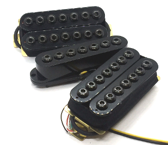 7 String Crusaders HSH Pickup Set, Humbucker-Single-Humbucker Adjustable Hex Caps