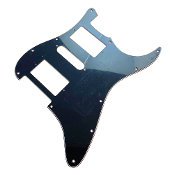HSH Pickguard, Strat Guard Squared Corner Style Choices Black BWB