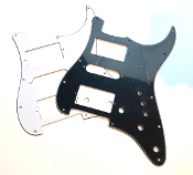 HSH Pickguard, Mini Switch, Strat Guard Squared Corner Style Choices Black BWB, Clearance Sale